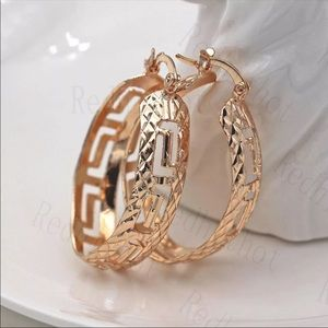 New trendy hollow out style gold tone earrings